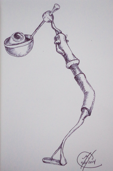 Eye Ball Spoon Man 09222014 - Pen on paper