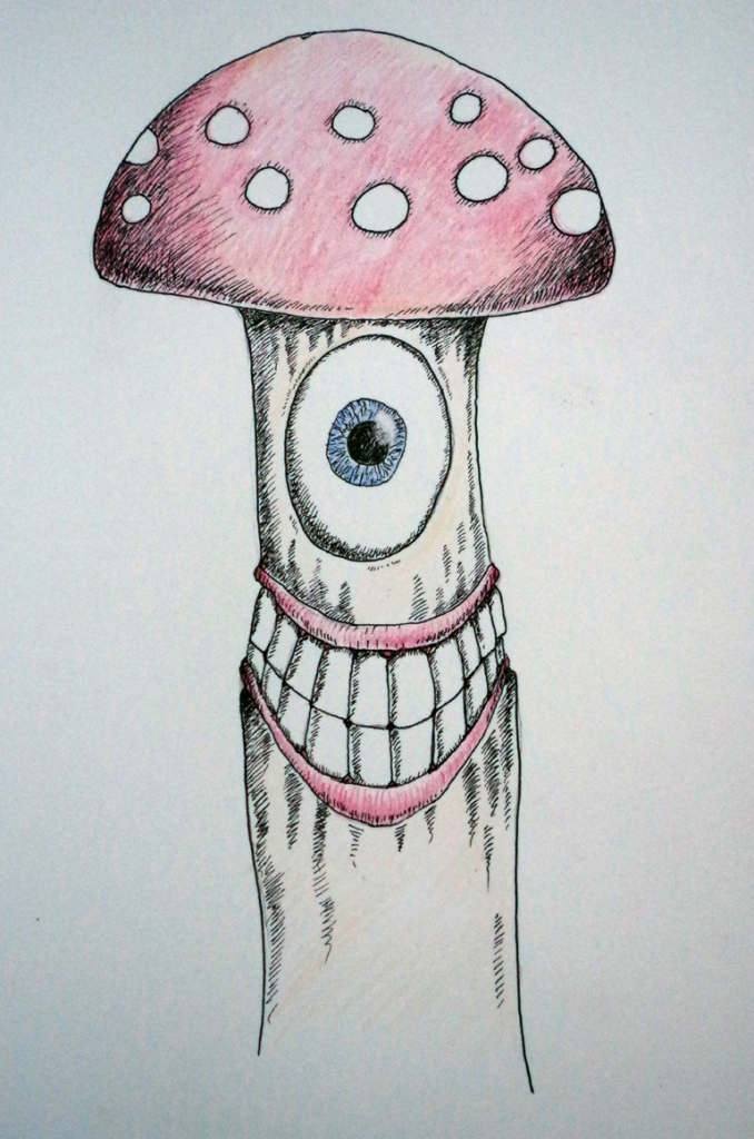 Unfinished Mushroom Man -  Colored pencil and pen